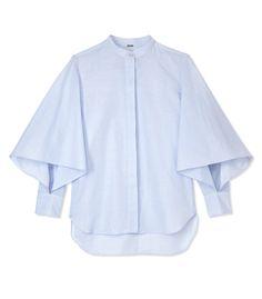 Adam Lippes Light Blue Flounce Shirt