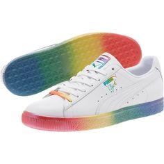 24c03be5ba4b PUMA Clyde Pride 365742 01 Rainbow White Gay Pride LGBTQ mens shoes 9 - 11  US