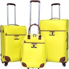 Travelers Club Paradise 3PC Softside Luggage Set - Yellow - Luggage Sets