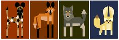 African wild dog, Maned wolf, Grey wolf, and a Fennec fox.