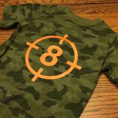 Bullseye Camouflage Birthday Shirt perfect for a Nerf Battles Birthday Party - Nerf Gun - Ideas of Nerf Gun Army Birthday Parties, Army's Birthday, Hunting Birthday, Hunting Party, Birthday Shirts, Birthday Ideas, Camouflage Birthday Party, Happy Birthday, Birthday Board