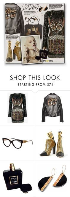 """""""Cool-Girl Style: Leather Jackets"""" by hanicelma ❤ liked on Polyvore featuring Balmain, Gucci, Burberry, Chanel, gold, black and leatherjackets"""