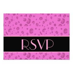 Pink Leopard RSVP Wedding Response Card Personalized Invitations