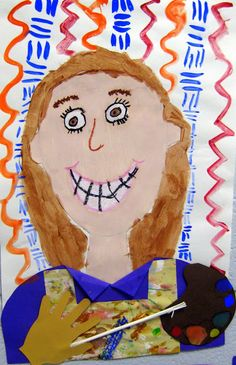 Cassie Stephens: In the Art Room: The Art Show Part 1 Very clever self portraits as artists! Kindergarten Self Portraits, Kindergarten Art Lessons, Art Lessons For Kids, Art For Kids, Collages, Elementary Art Lesson Plans, 2nd Grade Art, Grade 3, Third Grade