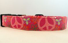 Awesome Custom Pink Peace Flower Power Dog Collar! We love peace signs! HOW CUTE!