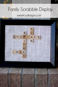 family names scrabble display