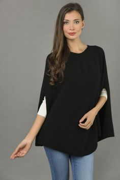 Pure Cashmere Plain Knitted Poncho Cape in Black front 1 Cashmere Poncho, Knitted Poncho, Cashmere Wool, Ponchos For Sale, Slouchy Beanie, One Size Fits All, Cape, Bell Sleeve Top, Tunic Tops