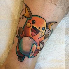 Little raichu tattoo on the lower leg. Tattoo artist: Dane...