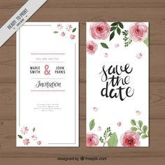 rosas da aguarela do convite do casamento