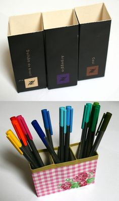 Repurpose empty Nespresso cartons to make a pen holder for your craft room. Cut the ends down to size, tape together and decorate with wrapping paper and washi tape.