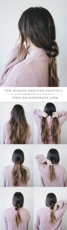 two minute knotted ponytail tutorial