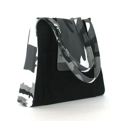 Black handmade handbag camouflage cotton work purse от Sisoibags
