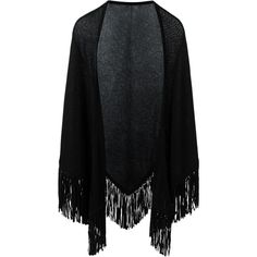 Antonia Zander Fringed Poncho ($784) ❤ liked on Polyvore featuring outerwear, black, fringe poncho, cashmere fringed poncho and cashmere poncho