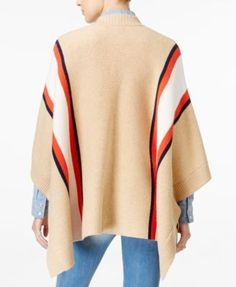 Tommy Hilfiger Striped Cape, Created for Macy's - Tan/Beige
