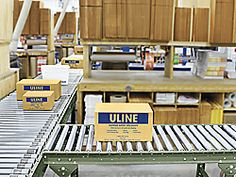 Gravity Roller Conveyors in Stock - ULINE Section dividers. lock boards to rollers to display special products etc. Glass boxes with special products. Just ideas. Separates cafe from shopping