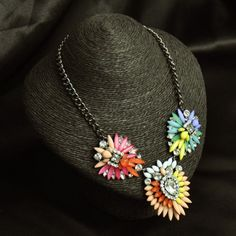 Euramerican Fashion Luxury Style Rainbow Flower Gem Crystal Necklace