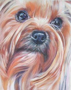 Yorkshire Terrier yorkie art portrait CANVAS print by TheDogLover, $39.99