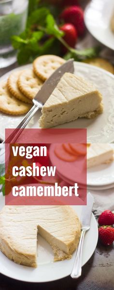 This luscious vegan Camembert cheese is made with creamy blended up raw cashews and a hint of truffle oil for intensely savory flavor. Best Vegan Cheese, Vegan Cheese Recipes, No Dairy Recipes, Vegan Dessert Recipes, Vegetarian Recipes Easy, Delicious Vegan Recipes, Vegan Snacks, Raw Food Recipes, Vegan Food