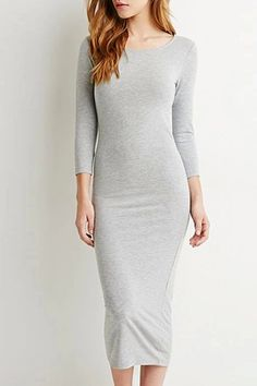 Solid Color Slimming Long Sleeve Dress