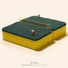 tennis match on a scrubbie sponge... mini photography fun