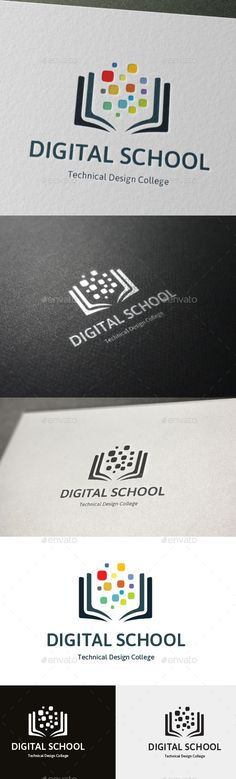 Technical Design College Logo Digital School  #school #shape #simple • Click here to download ! http://graphicriver.net/item/technical-design-college-logo-digital-school/11591866?s_rank=179&ref=pxcr