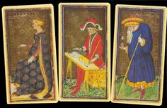 Visconti-Sforza Pierpont Morgan Tarot  A reproduction of 74 tarot cards that were painted in the fifteenth century, the scenes in the Visconti-Sforza Tarot are authentically medieval. The cards are not titled (no text on the cards at all), and four cards have been recreated to make the full 78-card Tarocchi deck.