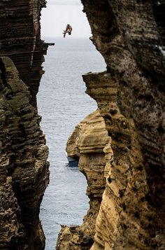 Blake Aldridge dives 29 metres from the rock monolith during the Red Bull Cliff Diving World Series in Portugal by goglee