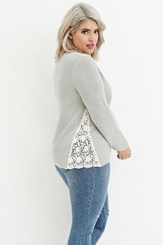 Plus Size Floral Crochet-Paneled Rib Sweater