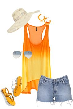 Beach wear in orange, created by kimboscookies on Polyvore
