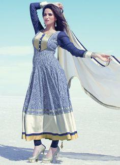 Appealing Blue Cotton Anarkali Suit