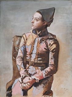 Portrait of a Harlequin Pablo Picasso, Kunst Picasso, Art Picasso, Picasso Portraits, Oil Painting Abstract, Watercolor Artists, Painting Art, Watercolor Painting, The Minotaur