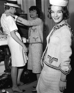 Romy Schneider at Coco Chanel's atelier,  rue Cambon, Paris, ca. 1960.
