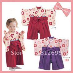 Hk post air mail , Sakura Kimono baby clothes set  ,Japanese style for kids ,Wholesale & Free shipping .  ST-C005