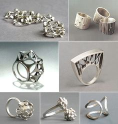 Argentina& Marina Massone manipulates metal in a multitude of manners. Bonus link: silver and ebony rings by Margarita Marcone , who als. Contemporary Jewellery, Modern Jewelry, Metal Jewelry, Jewelry Art, Jewelry Rings, Unique Jewelry, Silver Jewelry, Jewelry Accessories, Fashion Jewelry