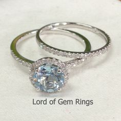 Two Ring Sets! 7mm Round Cut Blue Aquamarine with Diamonds Ring 14K White Gold Engagement Wedding Matching Band,Bridal Ring