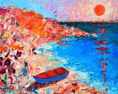 Greece Painting - Greece - Santorini Island - Fishing Boat On Akrotiri Beach At Sunrise by Ana Maria Edulescu