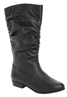3524eceed1f99 Plus Size Monica Leather Scrunch Wide Calf Boots - Leather scrunch boots  have a stylish buckle