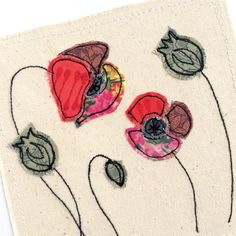 Poppies greeting card, personalised stitched fabric applique embroidery. Birthday. Nature poppy flower seed heads, unframed textile art