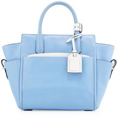 Reed Krakoff Atlantique Mini Tote Bag ($774) ❤ liked on Polyvore featuring bags, handbags, tote bags, purses, borse, purse tote, hand bags, handbags totes, blue leather tote bag and leather tote purse