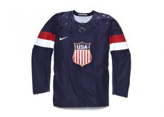 """On Tuesday, Nike unveiled the home and away jerseys Team USA hockey will wear for the 2014 Olympics. According to Nike, """"the USA Hockey Crest has been enlarged and refined to reflect the aesthetic. Team Usa Hockey, Ice Hockey Jersey, Olympic Hockey, Olympic Games, Football Team, Usa Olympics, Winter Olympics, Nike Outfits, Mens Trends"""