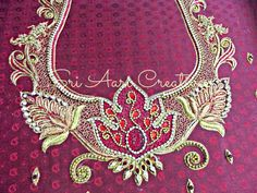 Zardozi Zardozi Embroidery, Embroidery Works, Beaded Embroidery, Handmade Embroidery Designs, Maggam Work Designs, Hand Work Blouse Design, Blouse Designs, Blouse Patterns, Thread Work