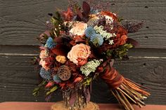 Fall Preserved Rose Wedding Bouquet Peach by SmokyMtnWoodcrafts
