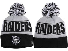 677aed92db4 NFL Oakland Raiders Beanie Gray Black