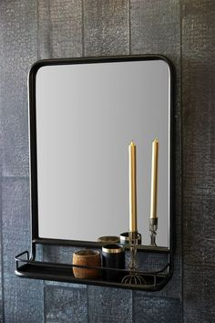 Black Wall Mirror with Shelf - View All - Home Accessories