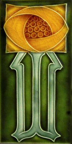 Art Nouveau Reproduction 3 x 6 inches Ceramic Wall Tile 0026   eBay
