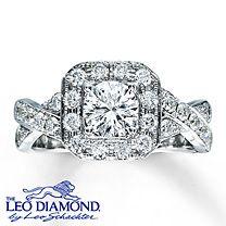 14K White Gold 1 1/5 Carat t.w. Leo Diamond Engagement Ring