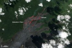 While most lava from the Pu'u 'O'o crater on Kilauea has flowed south towards the coast over the years, the most recent flow—Kahauale'a 2—is pushing northeast into ohia lehua forests in Hawaii's interior. The Advanced Land Imager (ALI) on NASA's Earth-Observing 1 (EO-1) captured these images of Kahauale'a 2 on February 2 and March 11, 2014.