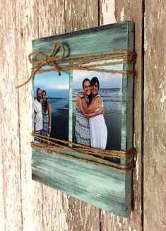Custom Wood Picture Frame Dimensions: Length: 9 inches Height: 11 inches Width: 0.75 inches This handmade sign is made out of select pine and finished off however you choose. The picture is distressed teal. For $5 extra you can add up to 3 words to the bottom of this. Just message me what you would like it to say when you order. It holds up to two 4x6 pictures. This sign will come ready to hang with a sawtooth picture hanger on the back. This sign is hand sanded, stained, and painted just…