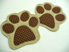 Paw Print Mug Rugs  Choose Colors  Set of 2  by SewSweetSparrow