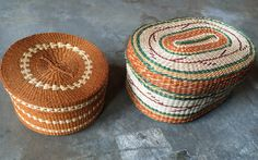 Vintage Woven Native American Baskets with Lids by PortlandRevibe on Etsy